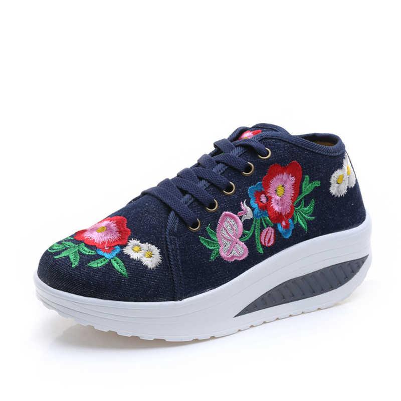 Kobiety płaski obcas brezentowych butów haft Retro damska koronka Up Comfort damskie sneakersy Casual kobiece obuwie spacerowe