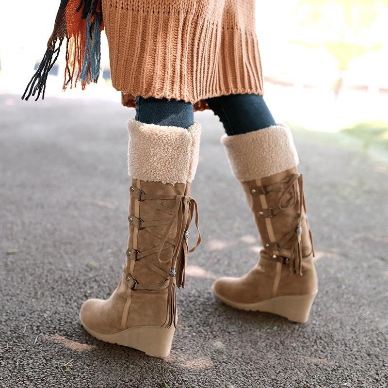 Classics Nubuck Knee-High Boots Fashion Cross-Tied Women Snow Shoes Leisure Short Plush High Heels Buty Damskie Jesienne Botki