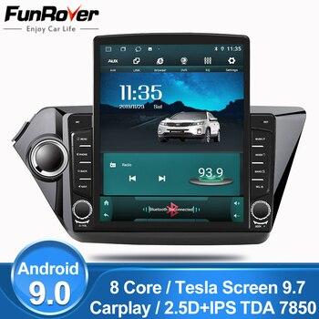 "Funrover 9.7"" Tesla screen Android 9.0 car multimedia Player radio gps Stereo For KIA K2 RIO 3 2011-2016 2din 2.5D+IPS DSP nodvd"