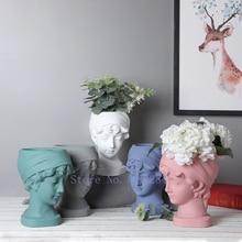 Flower Arrangement Vase Sculpture Ceramics-Vase Human-Head Home-Decoration Creativity