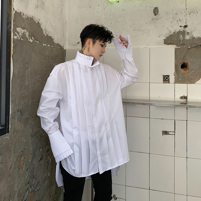 Men Vintage Pleated Stand Collar Loose Casual Long Sleeve Shirt Male Women Punk Gothic Party Dress Shirts Stage Clothing