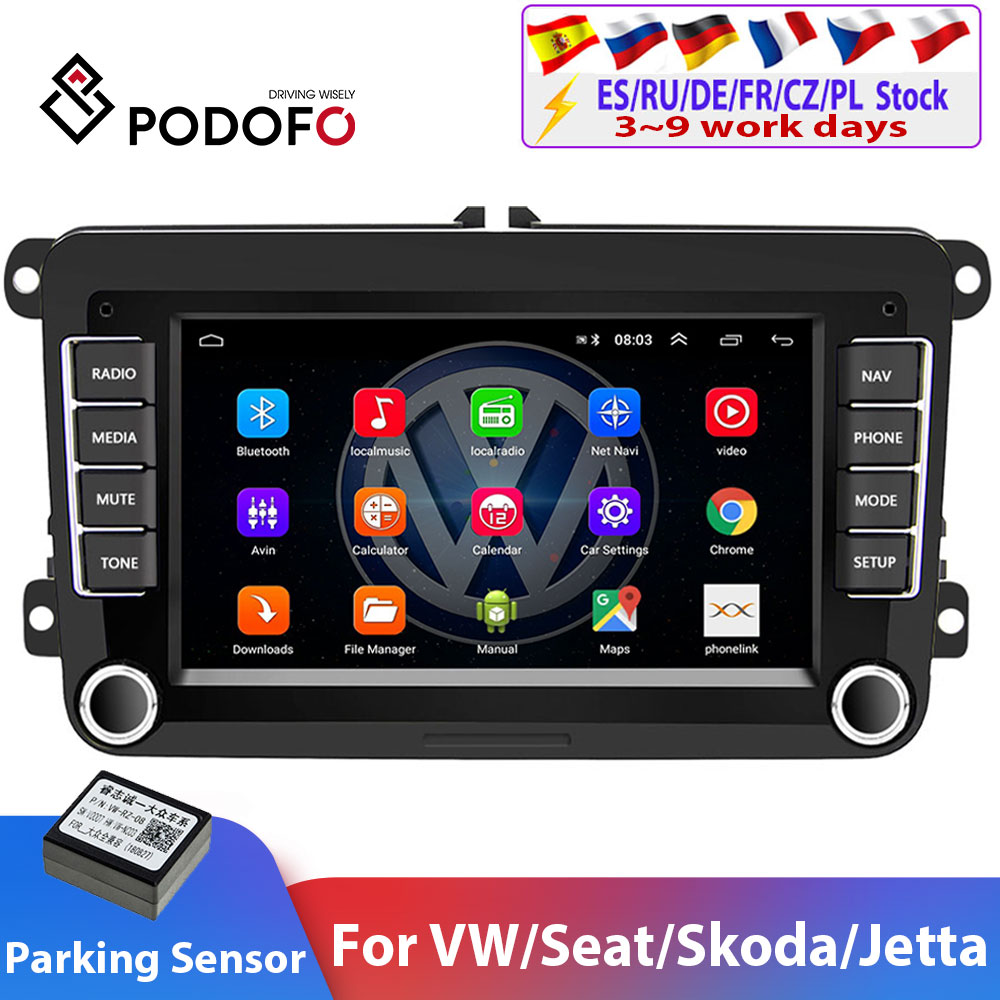 Podofo 2Din Android Car Radio GPS 2din Car Multimedia Player Autoradio For VW/Volkswagen/Golf/Passat/SEAT/Skoda/Polo car Stereo(China)