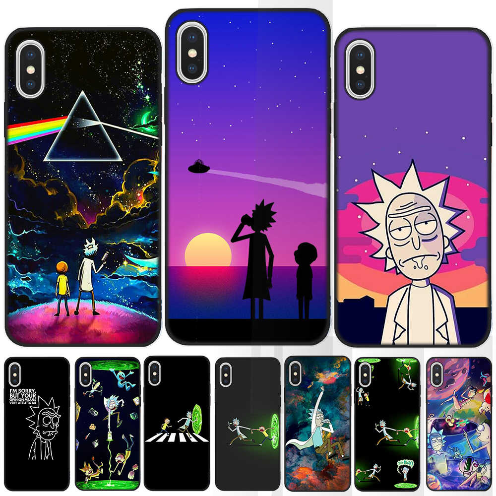 Rick And Morty Soft TPU Black Case For Coque iPhone 11 Pro Max X XS Max q50