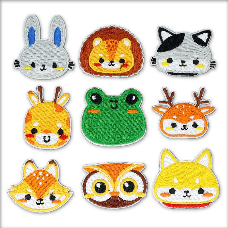 Besi Di Lion Anjing Corgi Kelinci Burung Hantu Lucu Hewan Patch Bordir Thermal Stiker Anak Dekoratif Patch untuk Pakaian
