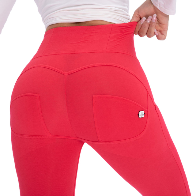Melody Four Ways Stretchable High Rise Leggings in Red Color Push Up Fitness Leggings For Women