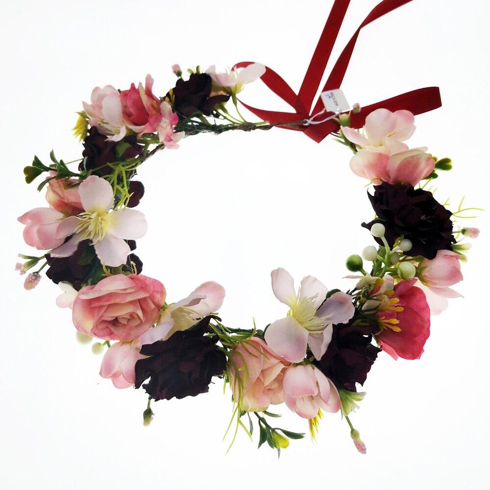 6pcs Burgundy Flowers Crowns Festival Headpiece Women Hair Accessories Headdress Crown Floral Garland Wedding Floral Headwear