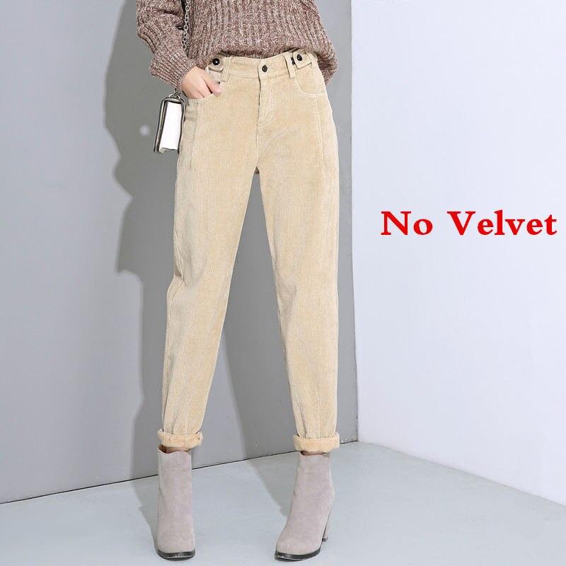 Autumn Winter High Waist Corduroy Harem Pants Women Plus Size Loose Black Pants Women Long Plus Velvet Trousers Sweatpants C5803 37
