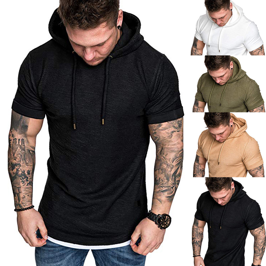 2019 Fashion Men's  Slim Fit Casual Pattern Large Size Short Sleeve Hoodie Top Blouse