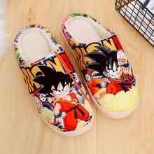 อะนิเมะร้อนSon Gokuรองเท้าUnisexคอสเพลย์ผู้ชายผู้หญิงนุ่มPlush Antiskidรองเท้าแตะในร่ม