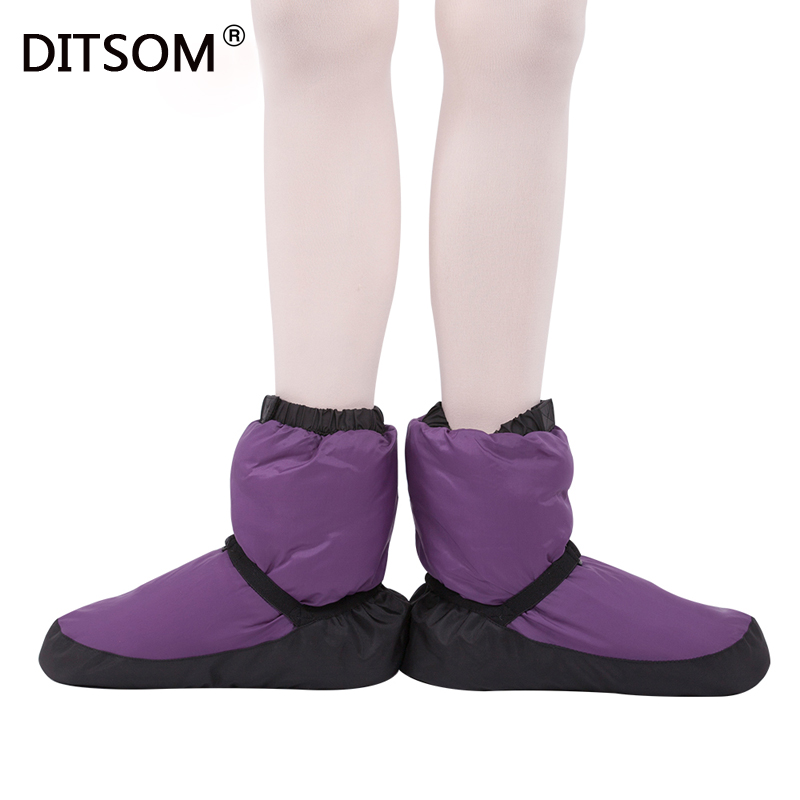 2019 Elasta Bootie Ballet Warm Ups For Women Ballet Pointe Dance Shoes Winter Thermal Down Boots For Ladies Purple Black
