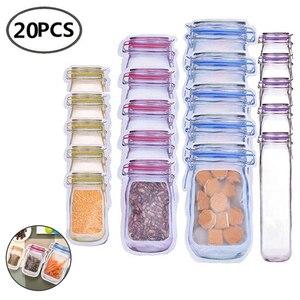 Mason Bags Jar Bottles Zipper Bag Reusable Food Storage Snack Mason Bag Seal Fresh Sealed Bags Food Saver Bags VIP Link(China)