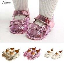 Милые блестящие туфли для новорожденных и маленьких девочек; Новинка года; блестящие туфли принцессы с бантом на нескользящей мягкой подошве для детей 0-18 месяцев