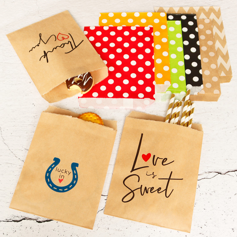 100pcs Multi Kind&Color Small Kraft Paper Bags Food Cookies Bags Party Wedding Treat Kid Birthday Packaging Thank You Gift Bag