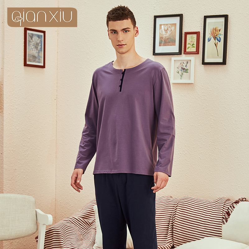 Men's Long Sleeve Modal Spring And Autumn Youth Middle-aged Plus Size Cotton Housewear Suit