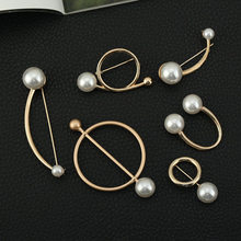 1PC Korean New Pearl Brooch Women's Open Shirt Pearl Brooch Fashion Ladies Round Pin Badge Sweater Coat Jewelry Brooches Girl(China)