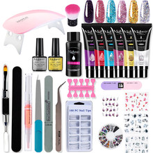 Mobray Poy UV Gel UV LED Lamp Rendam Off Manicure Set Gel Cat Kuku Nail Art Alat Manicure perlu Base Top Coat Nail Kit(China)