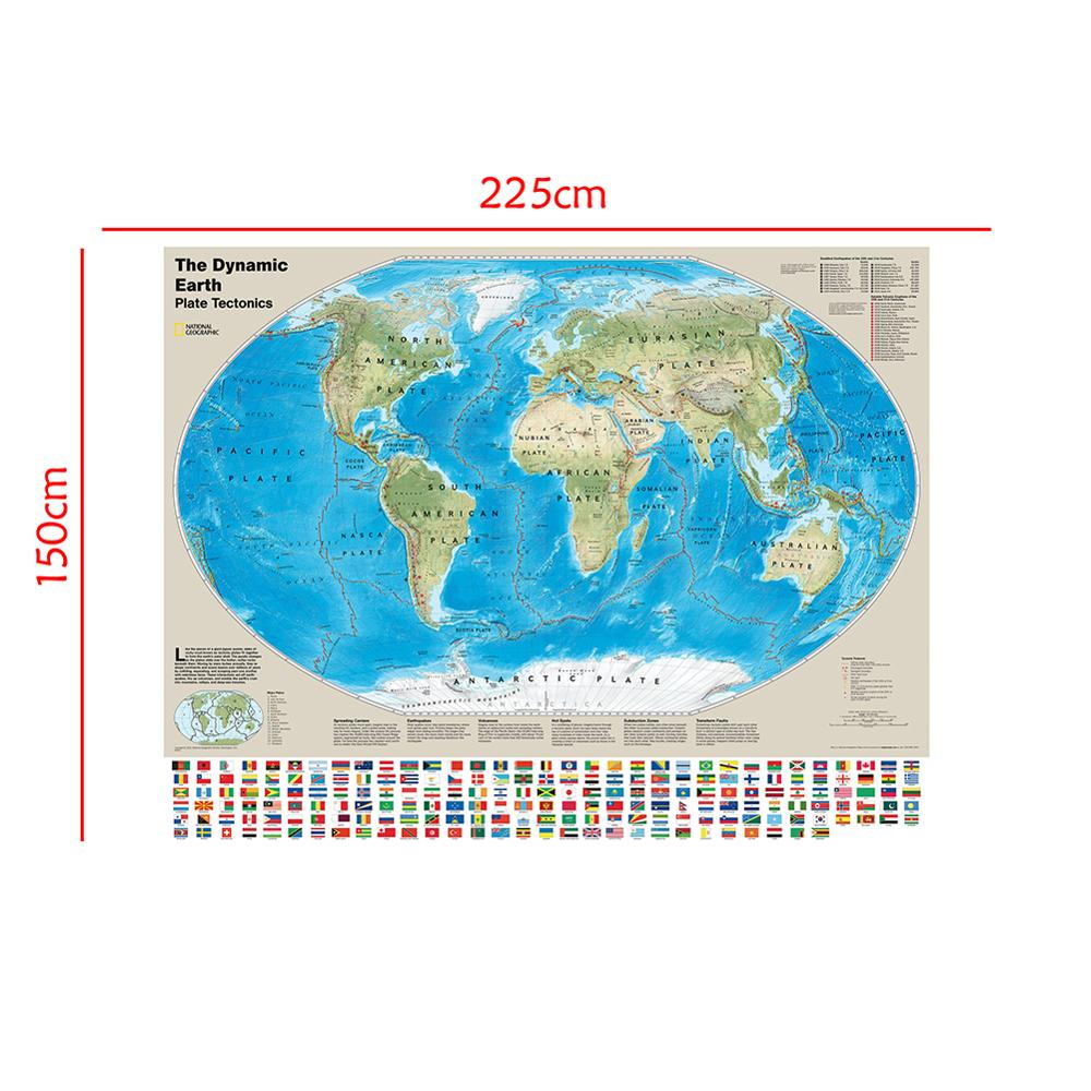 The Dynamic Earth Plate Tectonics Map Non-woven World Map With National Flags For Geological Research