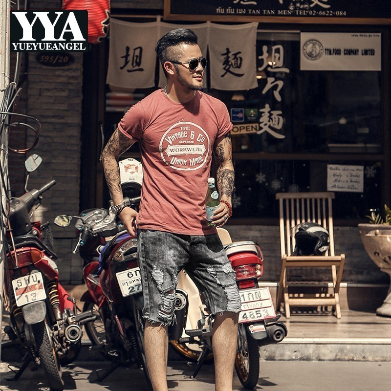 Vintage Black Gray Washed Men Slim Fit Jeans Shorts Ripped Hole Short Pants Summer Casual Street Motocycle Denim Shorts For Men