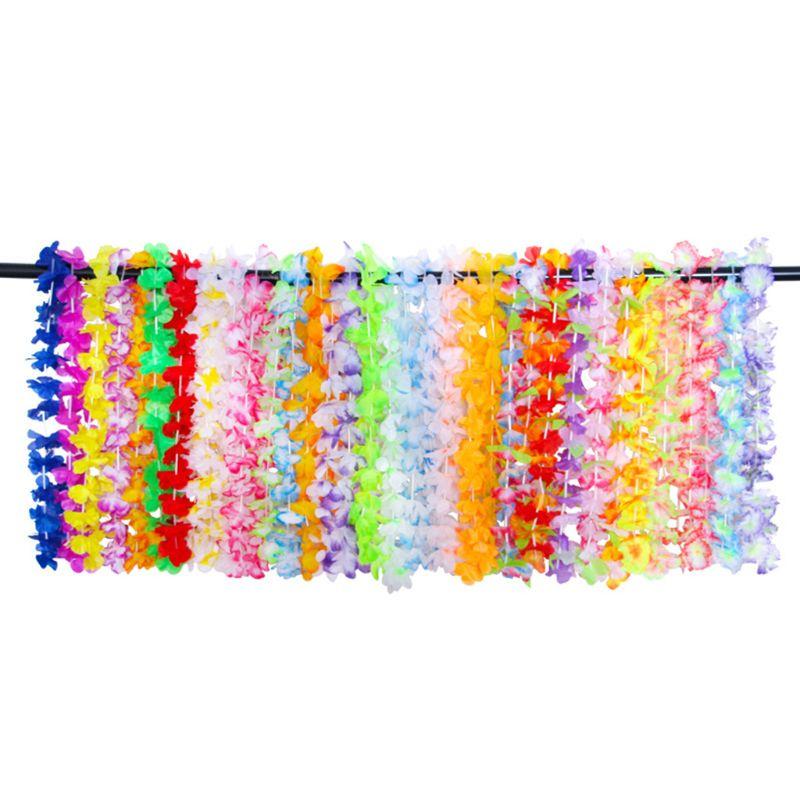 36 Counts Hawaiian Flower Leis Artificial Floral Necklace Garland Vibrant Colors Assortment Luau Dance Party Favors Decorations