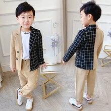 Boys Girls Formal Plaid Suit Sets Children's Stitching Plaid Blazer