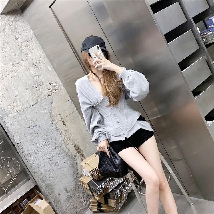 Autumn Zip Hoodie Women Sweatshirt Slim Grey Corset Fashion Workout Gym Sport Jacket Buckle Blouse Pullover