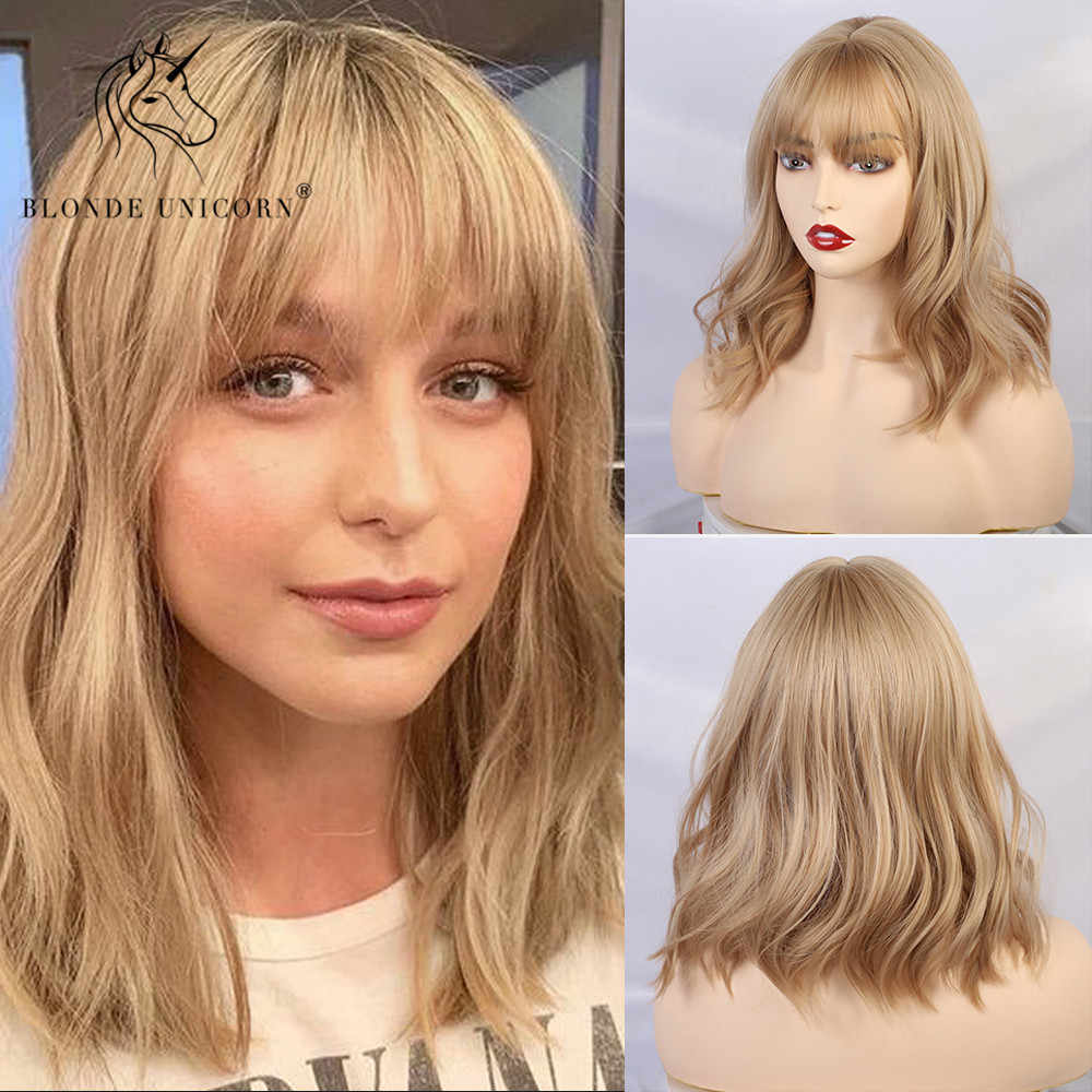 Blonde Unicorn Short Curly BOB Wigs with Bangs Womens Brown Black Grey Natural Hair Wigs Female Synthetic Heat Resistant Fiber