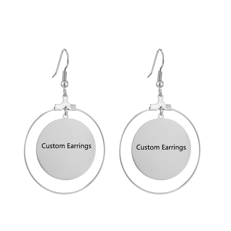 Custom Earrings Women Personality Stainless Steel Earrings Print Photo Engrave Letter Girls Round Dangle Earrings Gifts Jewelry
