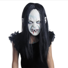 Horror Halloween Witch Mask Party Masquerade Rubber Latex Ghost Sadako Grudge Hedging Black Zombie Masks ,L