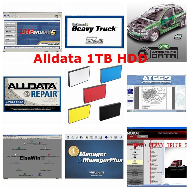 Alldata and mitchell software 24 in 1 Car Repair Alldata 10.53 mitchell on demand 2015 Vivid in <font><b>1TB</b></font> USB <font><b>HDD</b></font> DHL Free Shipping image