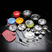 Kids House Play Kitchen Toys Stainless Steel Cookware Cookin