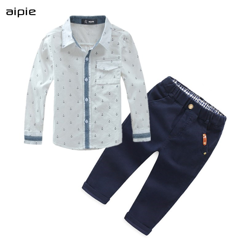 Hot selling New Spring/Summer Children Sets fashion shirts+pants Boy's sets For 3-12 Years kids setting title=