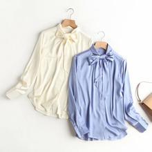 Silk Blouse Shirt Women Blusas Za Vintage White Elegant Office Lady Bow Bow-Tie Stain