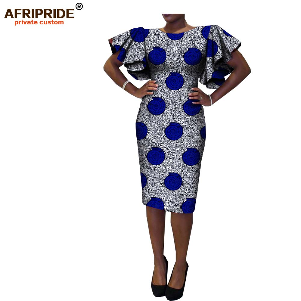 2019 New African Spring Women Dress AFRIPRIDE Short Butterfly Sleeve O-neck Knee-length Casual Cotton Dress For Women A7225133