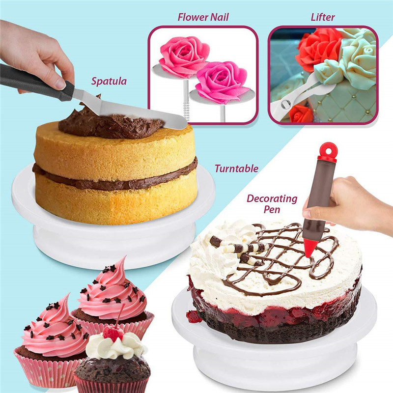 164 Piece Cake Turntable Set Baking Decoration Tool Set DIY Cream Spatula Chocolate Molds Flower Mold Fondant Tools in Decorating Tip Sets from Home Garden