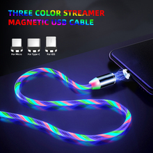 Magnetic USB Cable Flow Luminous LED Colorful Light For iPhone Huawei Micro Type C Charging Magnet Microusb Charger Phone Cables