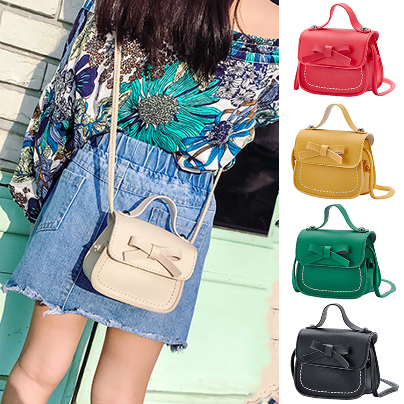 Kids Girls Plush Bowknot Small Messenger Bags Coin Cross Body Satchel Handbag