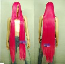 Hot heat resistant Party hair>>>130cm Hot Rose Pink Hi_Temp Series Extra long Bang Cosplay Wigs(China)