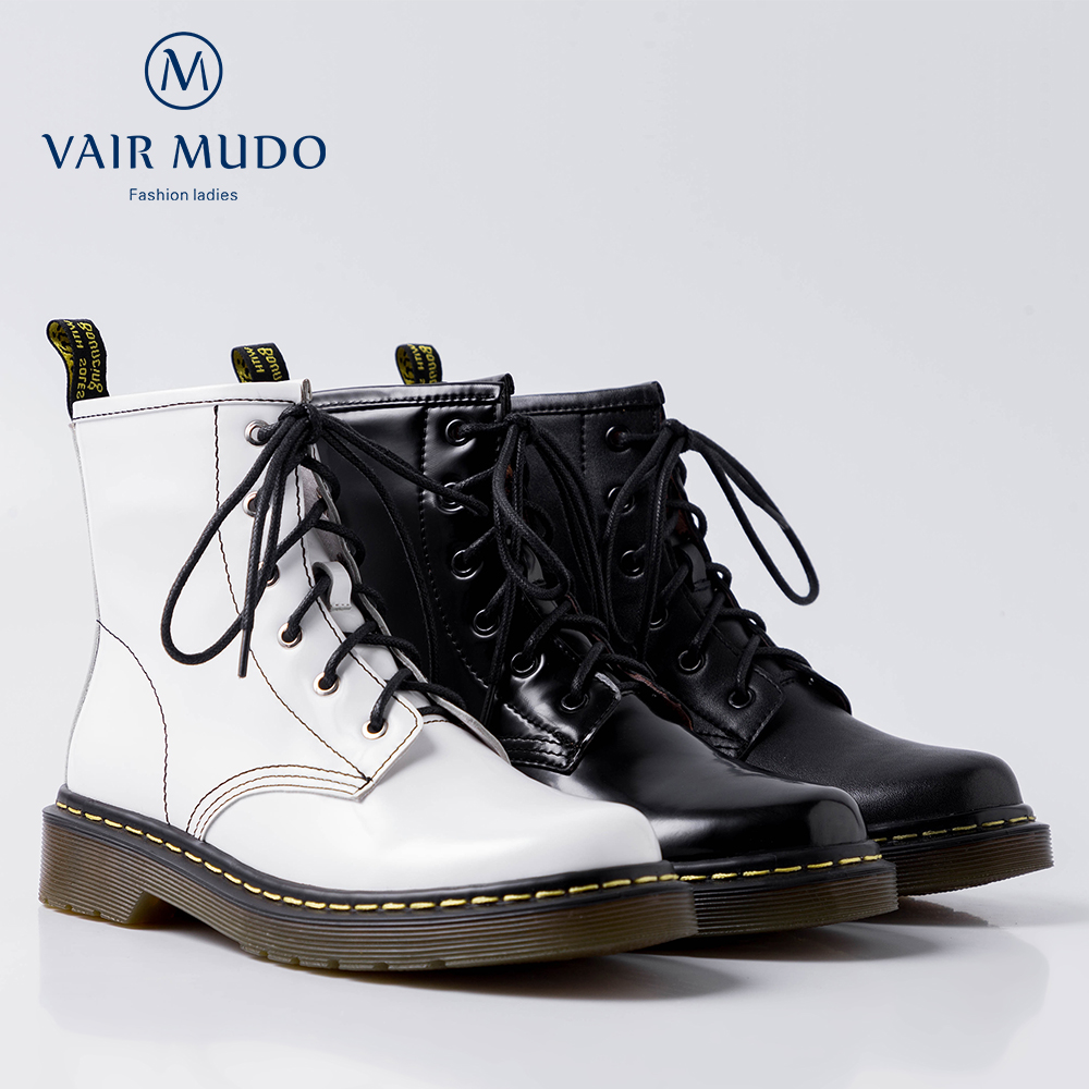 VAIR MUDO New Fashion Ankle Boots Low Heel Cow Leather Top Handmade Winter Warm Women Boots Off White Women Shoes DX16L in Ankle Boots from Shoes