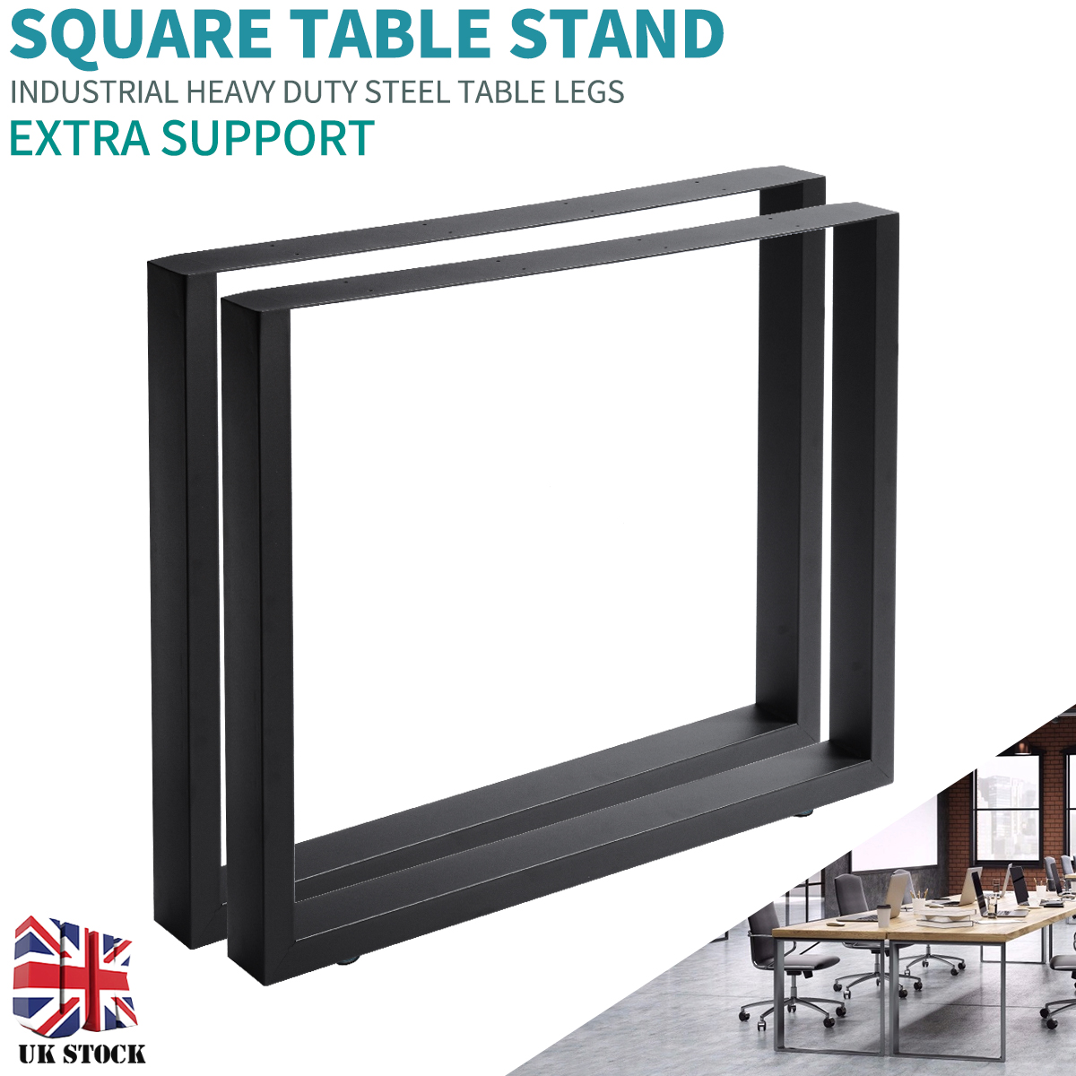 2pcs Geometric Table Legs Square Trapezium X Shape Industrial Design Wide Steel Table Legs For Dining Benches Office Desk New