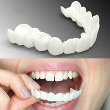 Dentes falsos folheados snap inferior & superior dentaduras silicone falso dente capa