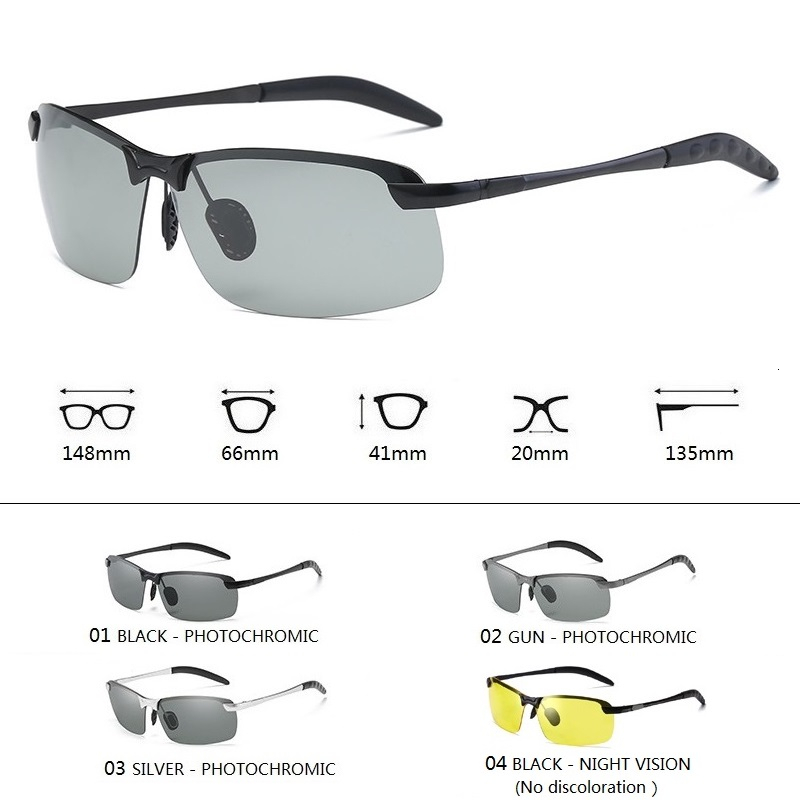 Photochromic Sunglasses Men Polarized Driving Chameleon Glasses Male Change Color Sun Glasses Day Night Vision Driver's Eyewear 4