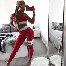 2 conjunto de duas peças tanque topo treino de treino de fitness mulher esportiva shapewear suor terno collants trabalhar para fora exercício sweatsuit vermelho