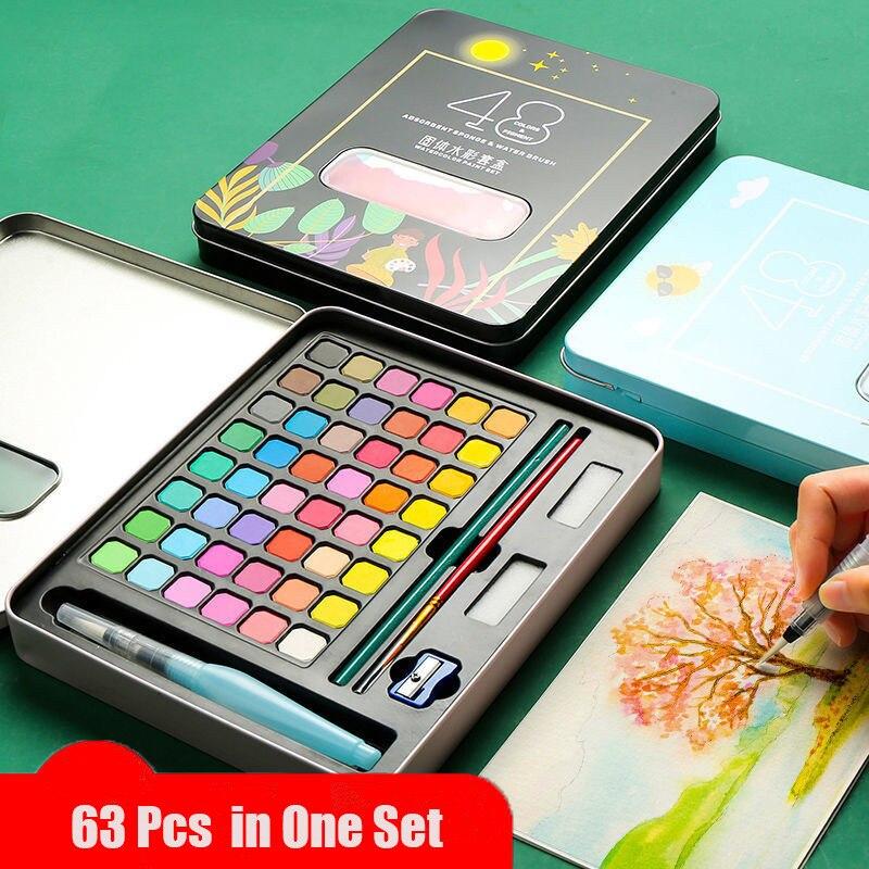 63 Pcs Professional Watercolor Paint Set 48 Colors Painting Set With Paint Brush Watercolor Paper Pigment Art Supplies