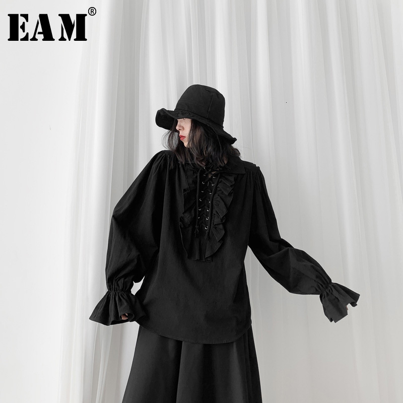 [EAM] Women Black Ruffles Split Big Size Blouse New Lapel Long Sleeve Loose Fit Shirt Fashion Tide Spring Autumn 2020 19A-a563