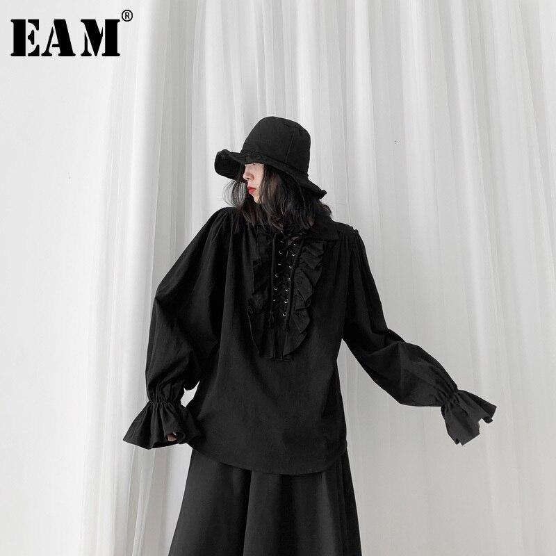 [EAM] Women Black Ruffles Split Big Size Blouse New Lapel Long Sleeve Loose Fit Shirt Fashion Tide Spring Autumn 2020 19A-a563