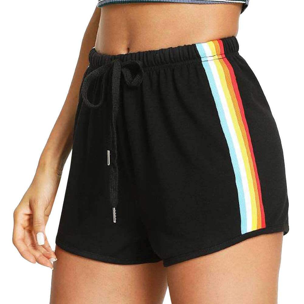 Rainbow Print Summer Korean Street Style Women Sport Elastic Short Pants Hot Sale Beach Wear High Waist Black Shorts For Female