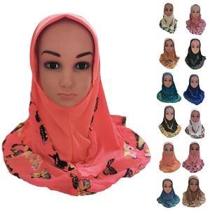 Image 1 - אופנה ילדי ילדי בנות מוסלמי פרח צעיף אסלאמי ערבית צעיפי כובעי ערבי מטפחת ראש כיסוי כיסוי ראש כובעי טלאים חדש