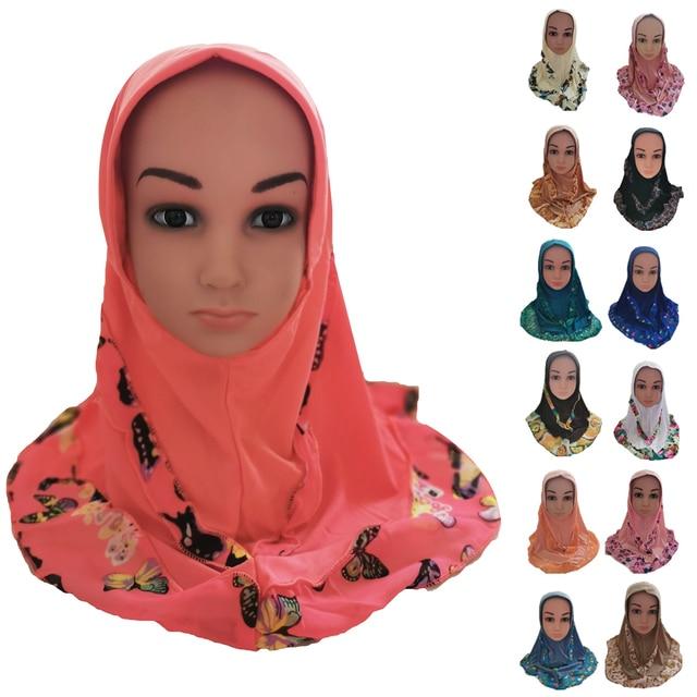 Fashion Kids Children Girls Muslim Flower Islamic Scarf Arabic Shawls Hats Arab Headscarf Head Cover Headwrap Caps Patchwork New