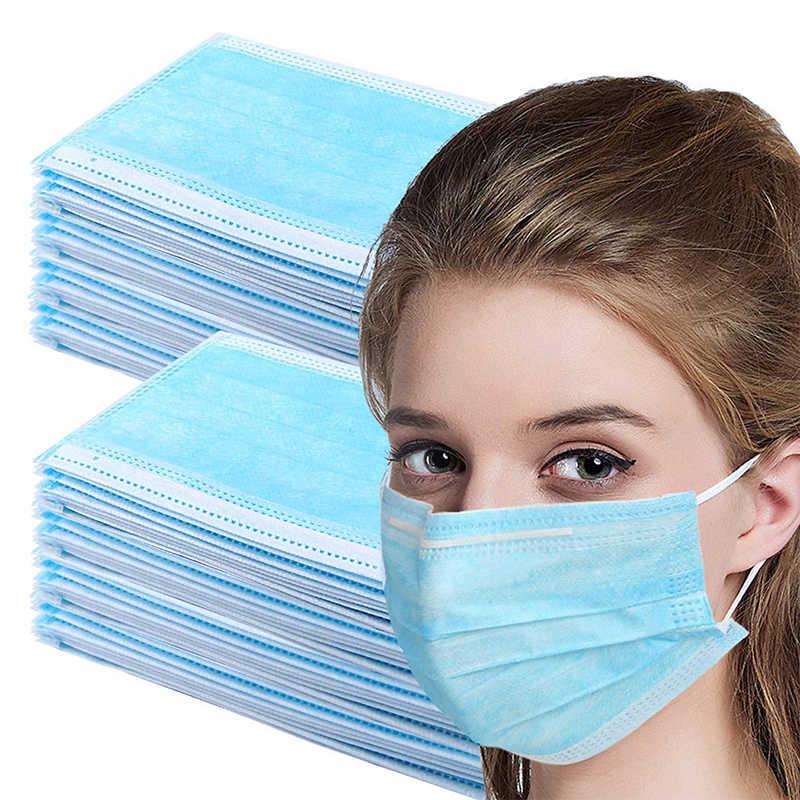 50 шт./лот, одноразовые маски для лица, Пылезащитная дышащая маска для ушной петли, анти-туман, Пыленепроницаемая Нетканая трехслойная маска расплава