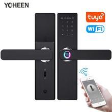 YOHEEN Wifi электронный умный дверной замок с приложением Tuya, безопасность биометрический отпечаток пальца интеллектуальный замок с паролем RFID карта